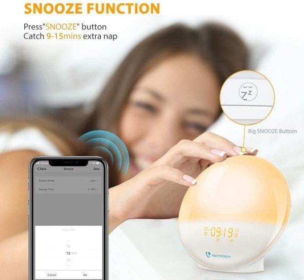 HeimVision Sunrise Alarm Clock, Smart Wake up Light Sleep Aid Digital Alarm Clock with Sunset Simulation and FM Radio, 4 Alarms -7 Alarm