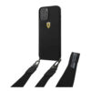 Ferrari On Track Liquid Silicone Hard Back Cover with Strap for Apple iPhone 12 -12 Pro Black